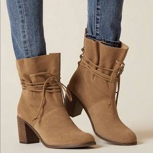 Toms Mila Suede Leather Floppy Brown Boots Size 8
